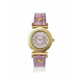 New Versace Vanity P5Q81D702 S702 Gold Tone Diamond Quartz 35MM Watch