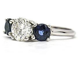 Diamond Blue Sapphire Three Stone Ring in 14K White Gold ( 2.95 ct tw )