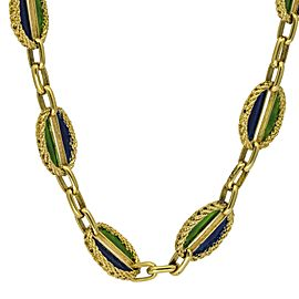 Green and Blue Enamel Rope Oval Link Necklace in 18k Yellow Gold