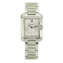 Cartier Tank Anglaise Mid-Size Watch Stainless Steel Diamond Dial W4TA0004