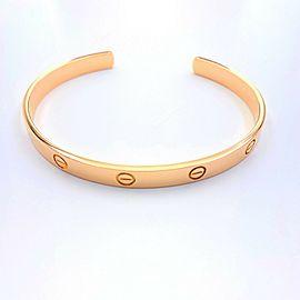 Cartier LOVE Bracelet Cuff 18 kt Rose Gold Certificate & Boxes Size 21