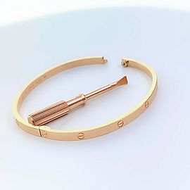 Cartier LOVE Bangle Bracelet 18 kt Rose Gold Certificate & Boxes Size 19