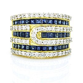 Blue Sapphire Diamond Wide Band Ring in 18k Yellow Gold ( 2.25 ct tw )
