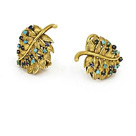 Turquoise Sapphire Leaf Clip On Earrings in 18k Yellow Gold Signed