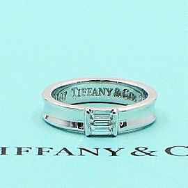 Tiffany & Co 18K White Gold Stackable Baguette Diamond Wedding Band Ring 4.5mm