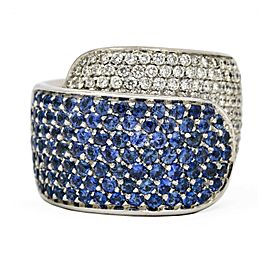 Damiani Pave Diamond Sapphire Band Ring in 18k White Gold ( 6.00 cttw )