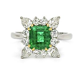 Emerald Diamond Halo Ring in Platinum ( 2.61 cttw )