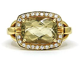 Lemon Citrine Diamond Statement Ring in 18k Yellow Gold ( 6.48 cttw )