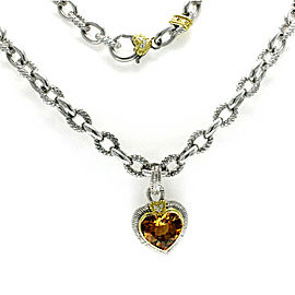 Judith Ripka 925 Silver 18K Gold Diamond Citrine Heart Pendant Necklace Size 16""