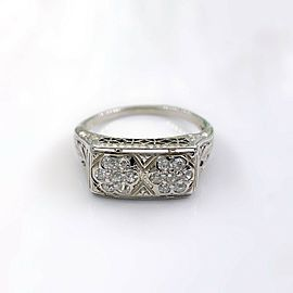 Antique Art Deco Old Mine Cut Double Flower Diamond Ring 18K