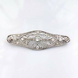 Antique Edwardian Era Platinum Filigree Diamond Bar Pin Brooch 1.85 TCW