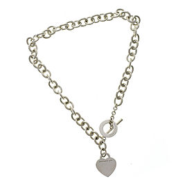"""Return to Tiffany & Co 925 Sterling Silver Heart Tag Link Necklace Size 15"""""""