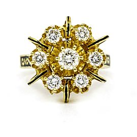 Diamond Enamel Statement Ring in 14k Yellow Gold ( .90 cttw )
