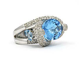 Blue Topaz Diamond Fashion Statement Ring in 14k White Gold ( 9.93 cttw )