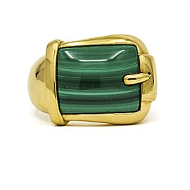 Malachite Buckle Band Ring in 14k Yellow Gold Signed FP