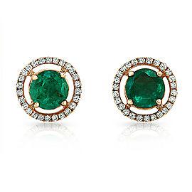 0.88 CT Colombian Emerald & 0.20 CT Diamonds in 18K Rose Gold 8mm Stud Earrings