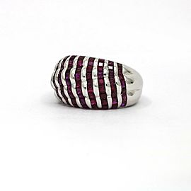 Ruby Dome Band Ring in 18k White Gold ( 1.60 cttw )