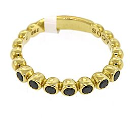 Lagos Caviar Black Diamond Band Ring in 18k Yellow Gold