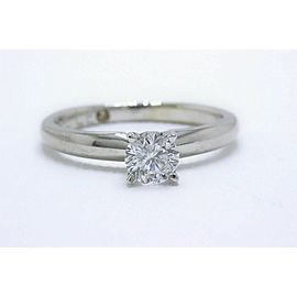 Leo Diamond Solitaire Engagement Ring Round 0.45 cts 14k White Gold