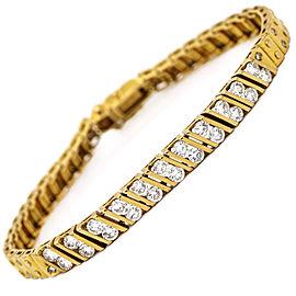 Retro Diamond Cartier Santos Style Link Bracelet in 20k Yellow Gold (2.00 ct tw)