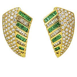 Emerald Diamond Shield Earrings in 18k Yellow Gold Signed (6.29 ct tw)