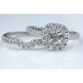 NEIL LANE 2.00 tcw Diamond Halo Semi Mount and Band Set in 14k White Gold