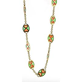 Plique A Jour Station Necklace in 18k Yellow Gold
