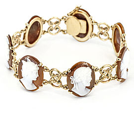 Vintage Cameo Link Bracelet in 14k Yellow Gold