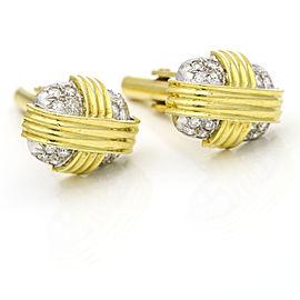 Men's Pave Diamond Rectangular Cufflinks in 18k Gold ( 1.00 ct tw )
