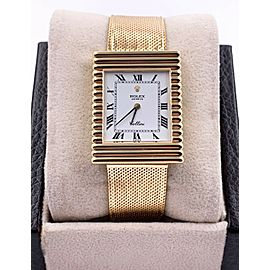 Rolex 4012 Cellini 18K Yellow Gold White Dial Rectangle
