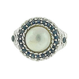 Judith Ripka Sterling Silver Pearl With Blue Stone Halo Ring