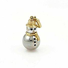 Louis Vuitton Snowman Onyx 18k Two Tone Gold Charm Pendant