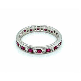 Tiffany & Co. Lucida 1.08ct Diamond & Ruby Platinum 4mm Wide Band Ring