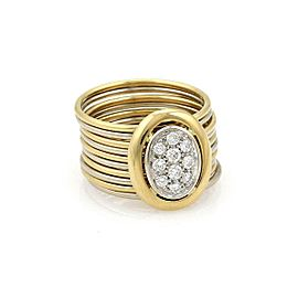 Damiani Diamond 18k Two Tone Gold Ten Stack Wire Band Ring