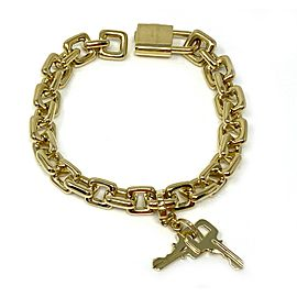 Louis Vuitton Hefty 18k Yellow Gold Padlock & Key Charm Square Link Bracelet