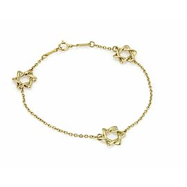 Tiffany & Co. 18k Yellow Gold 3 Star of David Charms Chain Bracelet