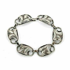 Georg Jensen Sterling Silver 6 Floral Link Bracelet