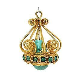Estate Turquoise Chandelier 18k Yellow Gold Charm Pendant