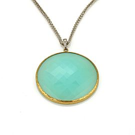 Gurhan Aqua Chalcedony 24k Gold Layered & Sterling Silver Pendant
