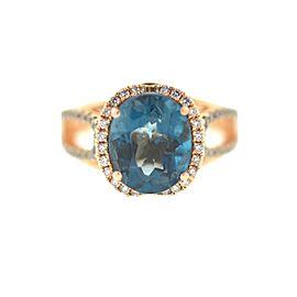 Le Vian 14k Rosw Gold Blie Topaz Diamonds Ladies Ring