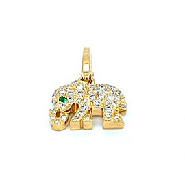 Cartier Diamond Emerald 18k Yellow Gold Elephant Charm Pendant w/Paper