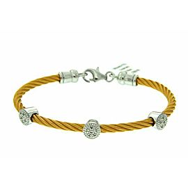 "925 STERLING SILVER YELLOW STAINLESS STEEL DIAMOND BANGLE,6"",»$$$309"
