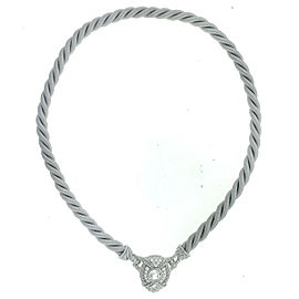 Judith Ripka Sterling Silver Grey Rope on Pendent Necklace