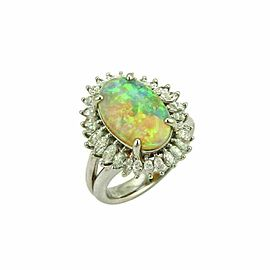 Platinum 5.15ct Diamond & Fire Opal Cocktail Ring