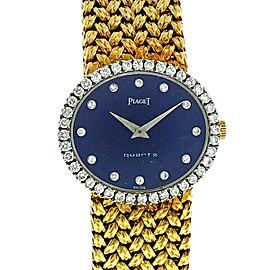 18k Two Tone Vintage Piaget Diamond Bezel and Lapis Diamond Dial Watch