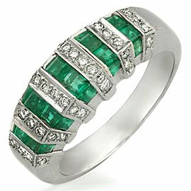 1.92 CT Invisible Set Emerald & 0.25 CT Diamonds in 18K White Gold Ring Band