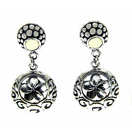 925 Sterling silver and 14 k Gold Handmade Bali Flower Dangle Earring»E213