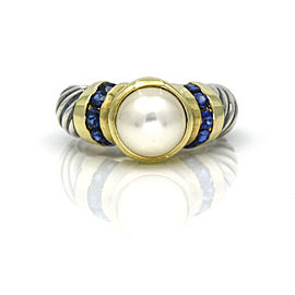 David Yurman Vintage Pearl Sapphire Ring in Sterling Silver 14k Yellow Gold