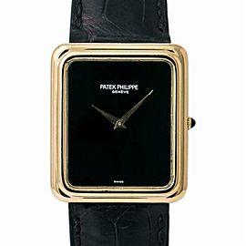 Patek Philippe Vintage 3649-1 Men Hand Wind Watch Onyx Dial 18k YG 30 mm