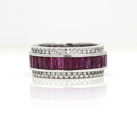 Sonia B Ruby and Diamond Eternity Wide Band in 18k White Gold ( 7.00 ct tw )